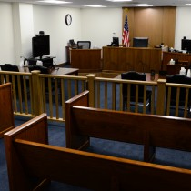 ARLINGTON, VA - JANUARY 31:  Pictured is one of ten court rooms at the U.S. Department of Justice Executive Office for Immigration Review, Arlington Immigration Court. (Photo by Sarah L. Voisin/The Washington Post)